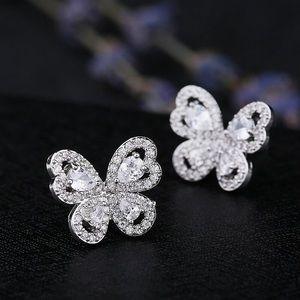 Jewelry - NIB 18kt Pave Buttetfly Stud Earrings